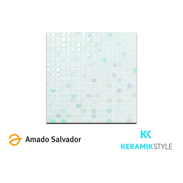 Mosaicao enmallado NEVE 29,7X29,7CM cristal/piedra