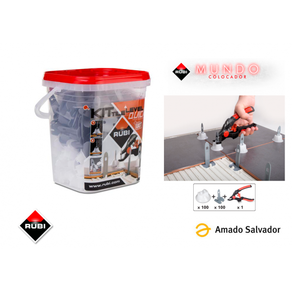 KIT Tile level Quick 100 bridas, 100 campanas y tenaza Rubi