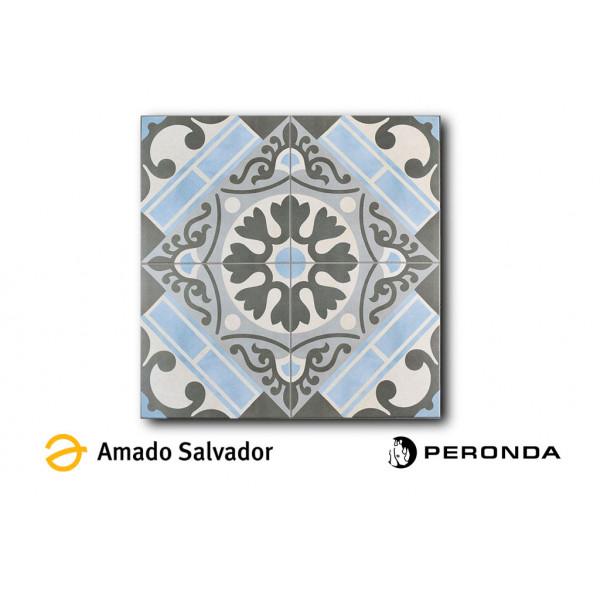 Pavimento EVASION azul 45x45cm gres tipo hidraúlico Peronda