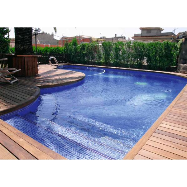 Mosaico vitreo piscina azul 2,20x2,20cm en malla 31,6x31,6cm