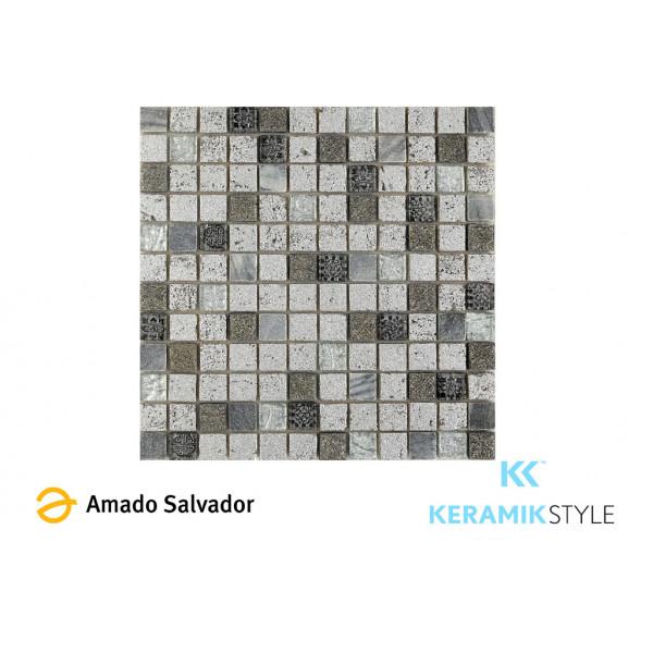 Mosaico enmallado IMPERIUM SILVER 30X30 CM