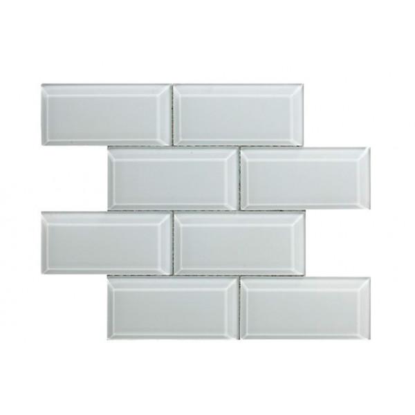 Mosaico enmallado METRO WHITE 30X30cm blanco biselado