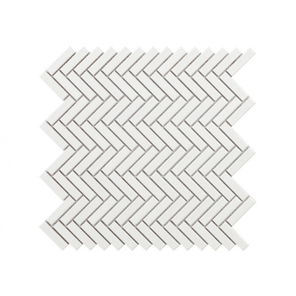 Mosaico enmallado TECH CHEVRON White Gloss 31x29cm