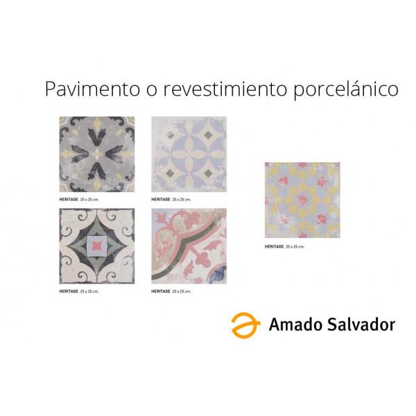 Revestimiento o pavimento porcelánico collage tipo hidraúlico  Heritage 25x25 cm