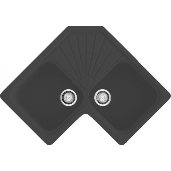 Fregadero Agata sobre encimera esquinado negro 778x778mm