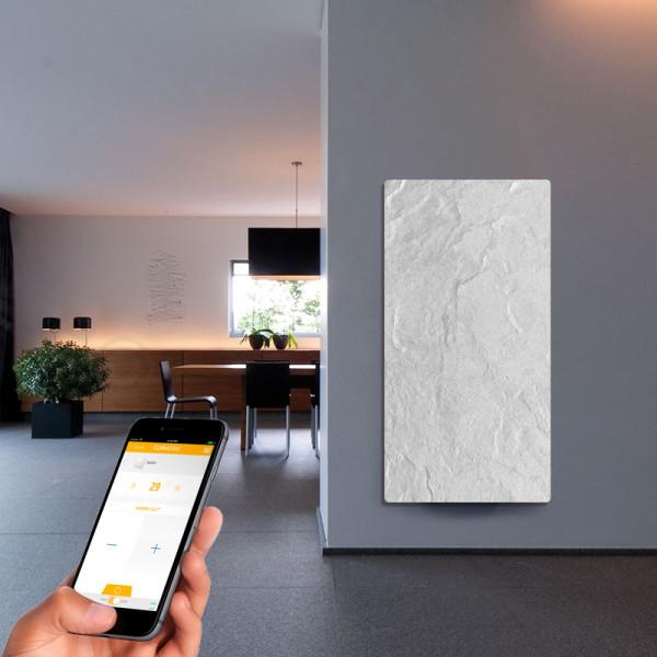 Radiador eléctrico de diseño Avant wifi rectangular 1500w Blanco silicio