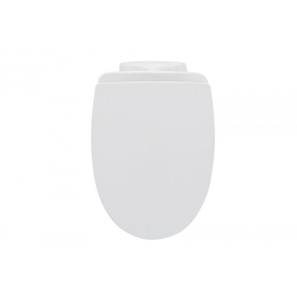 AiHom Tapa de WC Asiento Plegable del Inodoro Dise/ño de Desaceleraci/ón Urea de Pl/ástico Duro Acero Inoxidable Forma Universal de O Ovalado Blanco