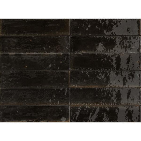 Revestimiento LUME BLACK 6X24cm porcelanico brillo Marazzi Crogiolo