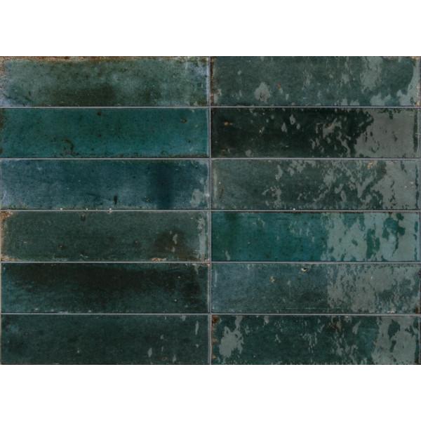 Revestimiento LUME BLUE 6X24cm porcelanico brillo Marazzi Crogiolo