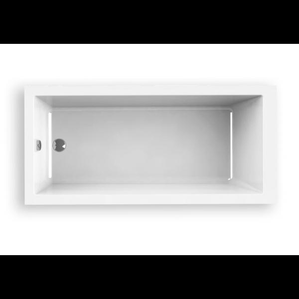 Bañera acrílica Indie 160 x 80 cm blanca lineas cuadradas