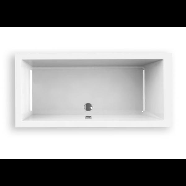 Bañera acrílica Indie 180 x 80 cm blanca lineas cuadradas