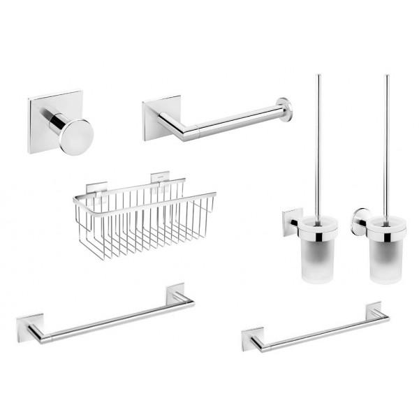 Accesorios de baño serie Duo Square cromo de Bath+ (Adhesivos)