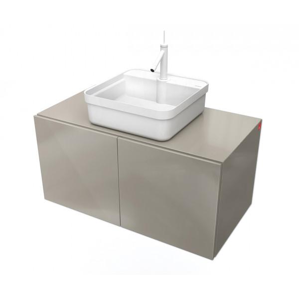 Conjunto Mueble de baño MOOD Gris módulo doble + lavabo cuadrado sobre encimera B&K