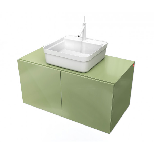 Conjunto Mueble de baño MOOD Verde módulo doble + lavabo cuadrado sobre encimera B&K