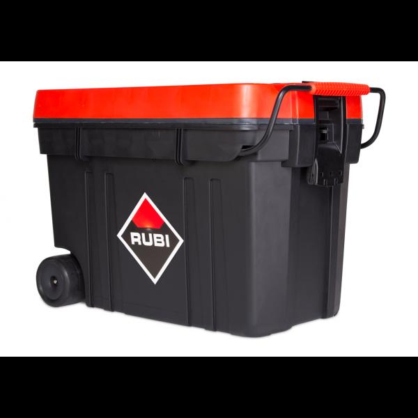 Caja de herramientas con ruedas y maneta para albañil