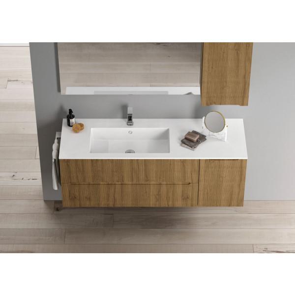 Mueble de baño suspendido Smyle Ondas 125cm con encimera mineral solid by Blob de Idea Group