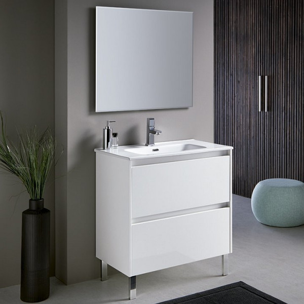 Mueble de baño a suelo DECO LINE 100cm blanco brillo con encimera ceramica