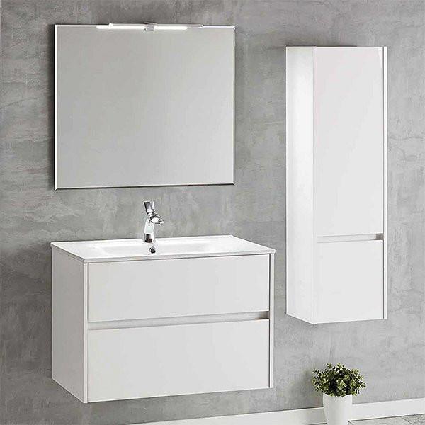 Mueble de baño suspendido blanco brillo DECO LINE 60cm con encimera ceramica
