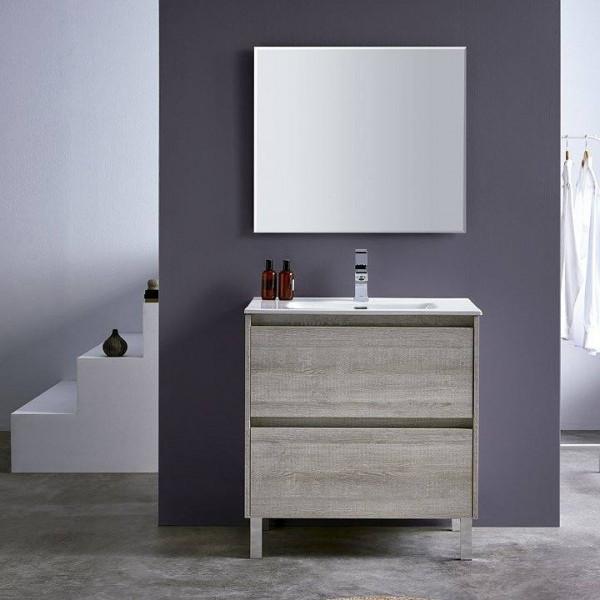 Mueble de baño a suelo DECO LINE 100cm acabado madera con encimera ceramica y espejo
