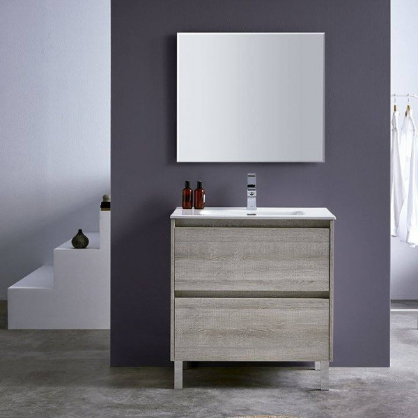 Mueble de baño a suelo DECO LINE 100cm acabado madera con encimera ceramica