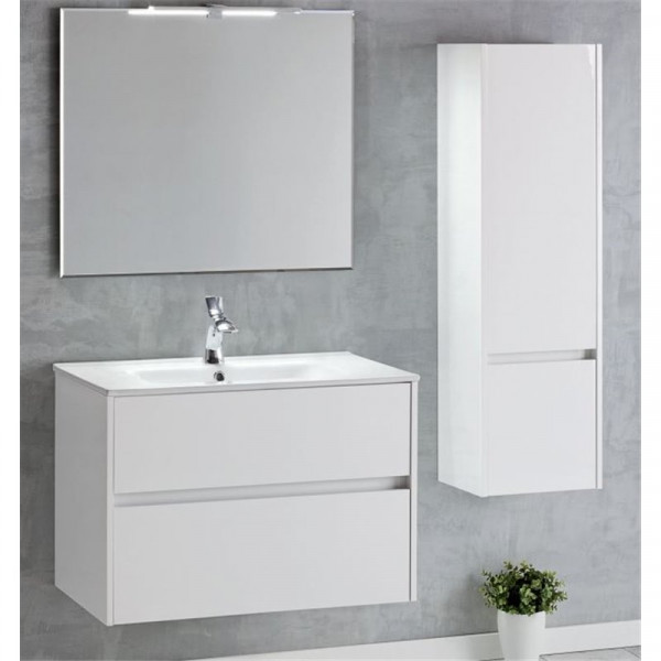 Mueble de baño suspendido blanco brillo DECO LINE 80cm con encimera ceramica