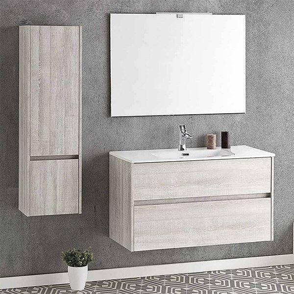 Mueble de baño suspendido acabado madera DECO LINE 80cm con encimera ceramica