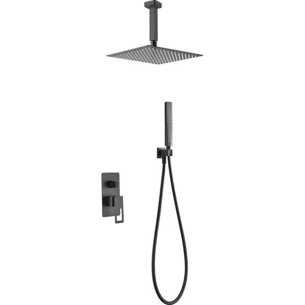 Conjunto Estocolmo rociador ducha negro mate a techo