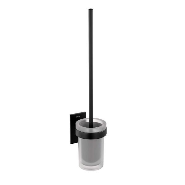 Escobillero de baño adhesivo a pared negro mate y cristal Stick Bath+