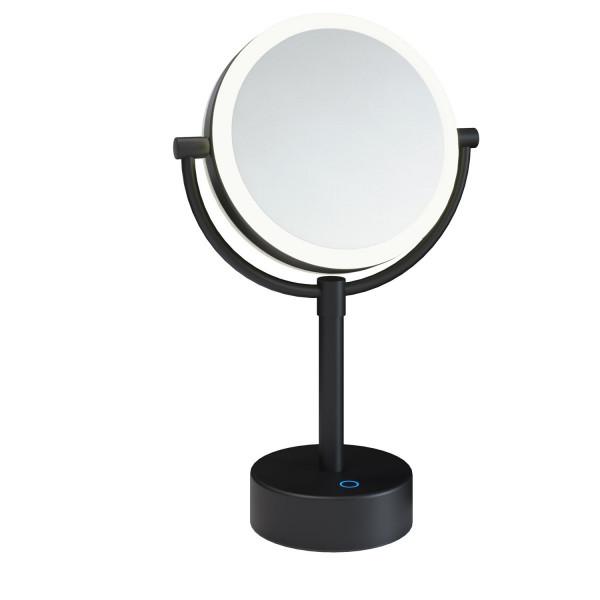 Espejo de aumento negro mate con luz regulable