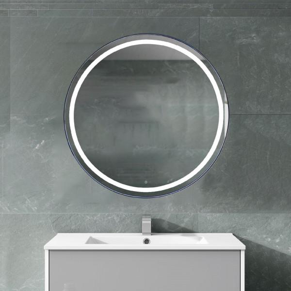 Espejo de baño Emma 52x30cm con antivaho, marco negro y touch screen