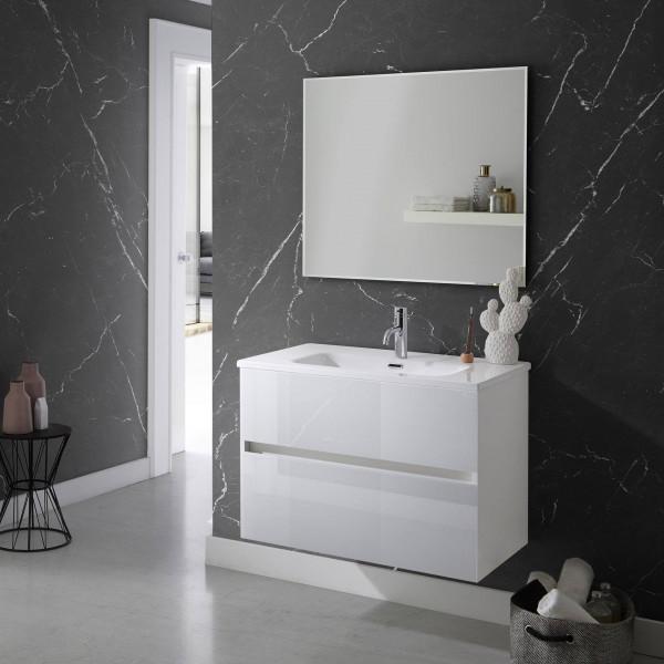Conjunto de mueble Blanco polar optico 80cm Glass Line Sanchis