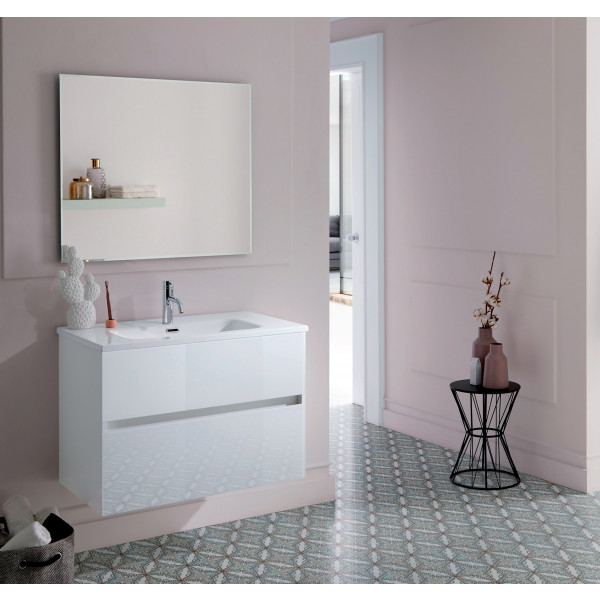 GLASS LINE conjunto mueble 80X46X56CM + encimera cerámica 80X46CM + espejo de 80X70CM BLANCO POLAR  REF. 23010+21960+21815 Sanchis