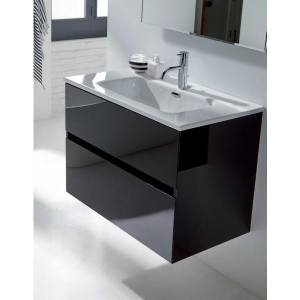 GLASS LINE conjunto mueble 100X46X56CM + encimera cerámica 100X46CM + espejo de 100X70CM NEGRO MOD. 23010+21960+21815 Sanchis