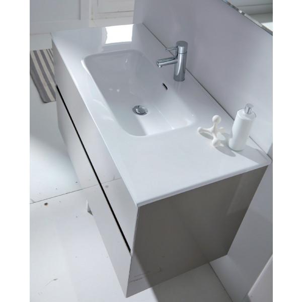 GLASS LINE conjunto mueble 100X46X56CM + encimera cerámica 100X46CM + espejo de 100X70CM TAUPE MOD. 23010+21960+21815 Sanchis