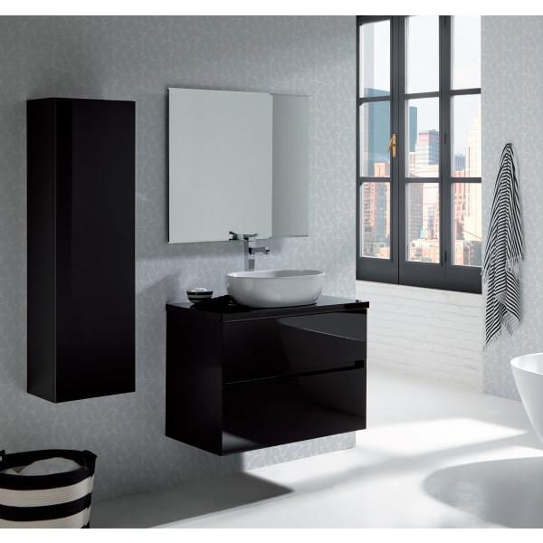 GLASS LINE conjunto mueble 60X46X56CM + encimera madera 60X46CM + lavabo LINE + espejo de 60X70CM NEGRO modelo 23010+LINE+21670+21815