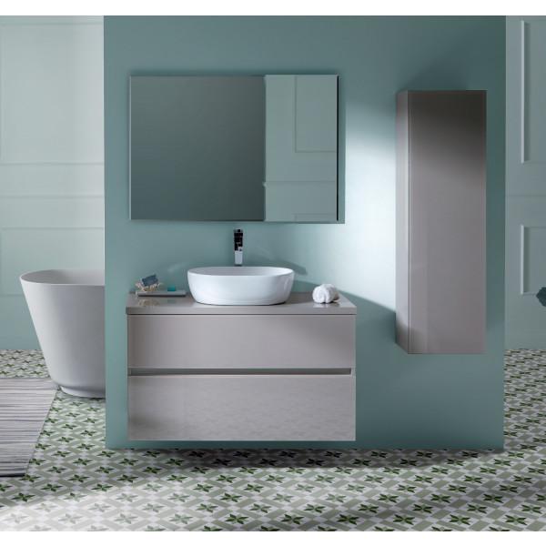 GLASS LINE conjunto muebl 100X46X56CM + encimera madera 100X46CM + lavabo Line + espejo de 100X70CM TAUPE modelo 23010+LINE+21670+21815