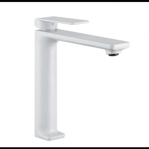 Grifería de lavabo caño alto FIYI blanco mate BDF016-3BL