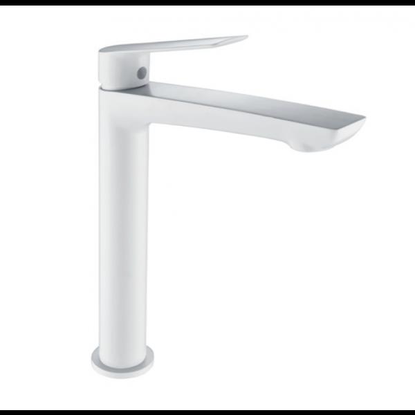Grifería de lavabo caño alto LUXOR blanco mate BDX023-3BL