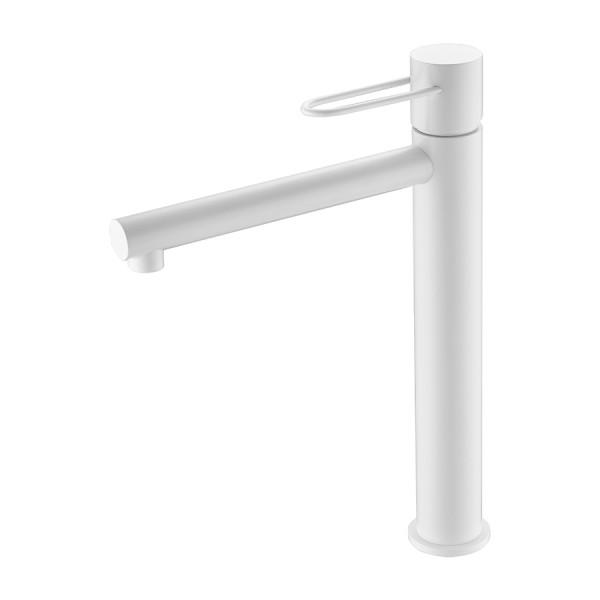 Grifería Milos lavabo caño alto blanco mate