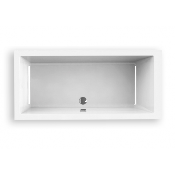 Bañera acrílica Indie 150 x 80 cm blanca lineas cuadradas