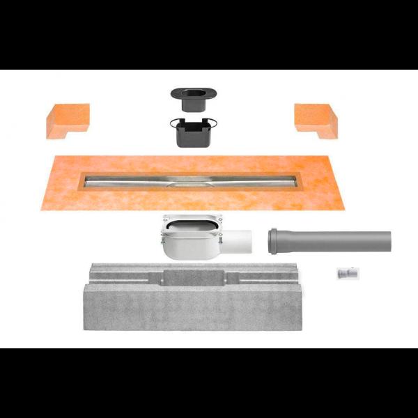SET KERDI-LINE-H 40 desagüe lineal 80 cm de acero inoxidable y salida horizontal KLH40GE80