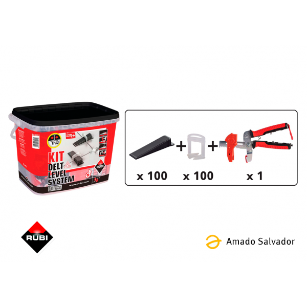 KIT Delta level system 1 mm - 100 bridas, 100 cuñas y tenaza Rubi