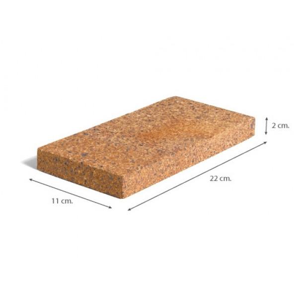 Ladrillo Refractario del 2 acabado tradicional 22x11x2 cm