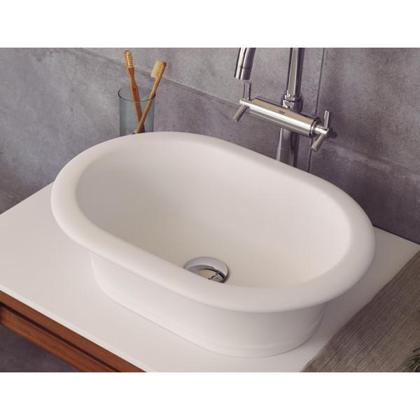 Lavabo sobre encimera classic 50x36 cm de solid surface blanco