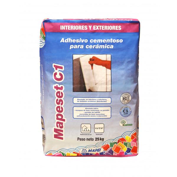 Adhesivo cementoso para cerámica Pasta Roja MAPESET C1 blanco 25Kg