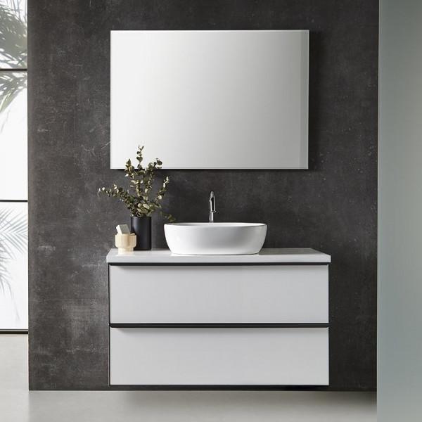 Mueble de baño suspendido METAL LINE 60cm con encimera madera