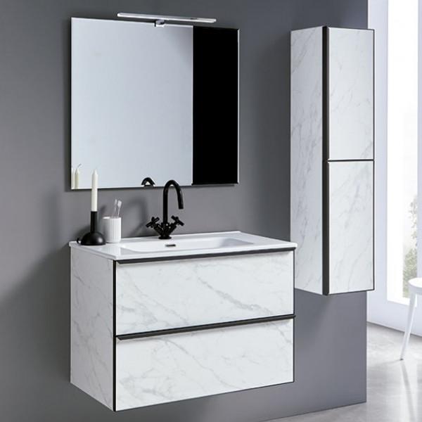 Mueble de baño METAL LINE mármol 60cm con espejo y lavabo integrado en encimera cerámica