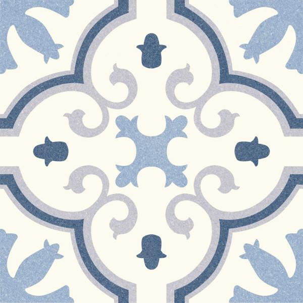 Pavimento MONTECARLO Blue 25x25cm hidráulico pasta blanca porcelánico