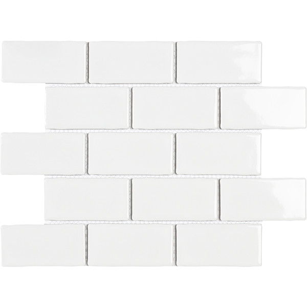 Mosaico enmallado YORK WHITE Gloss 26.5x30.9cm porcelánico biselado
