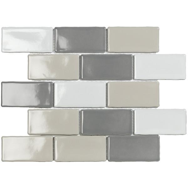 Mosaico enmallado YORK BLEND Gloss 26.5x30.9cm porcelánico biselado
